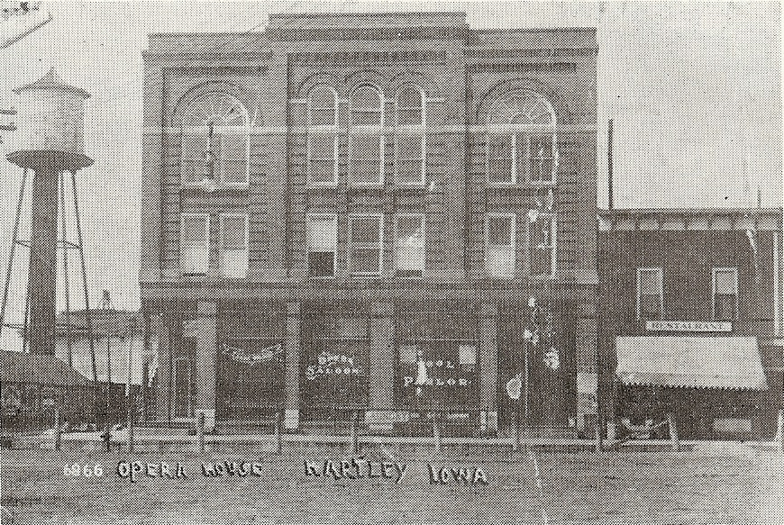 Old photo of Opera House in Hartley, Iowa